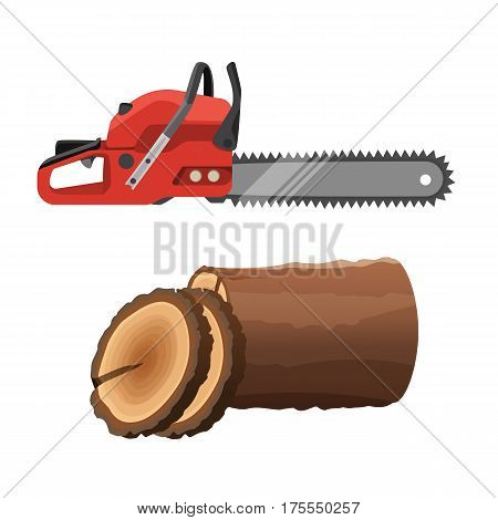 Axeman saw and stump isolated on white background. Gas chainsaw and round parts of tree trunk. Realistic vector illustration of petrol-driven power saw