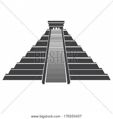 Aztec pyramid icon isolated on white background. Vector illustration of Mayan Pyramid landmark in central Mexico.Temple of Kukulkan or El Castillo Pyramid in Chichen Itza.