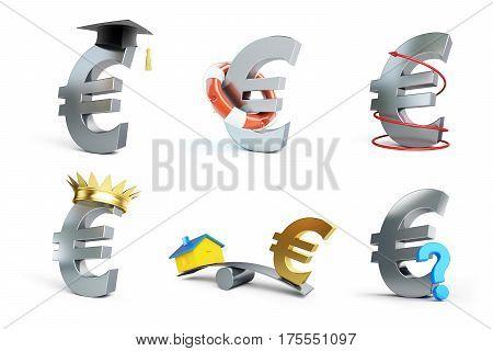 euro sign set on a white background 3D illustration