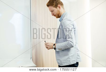 Businessman using whiteboard to present future plans