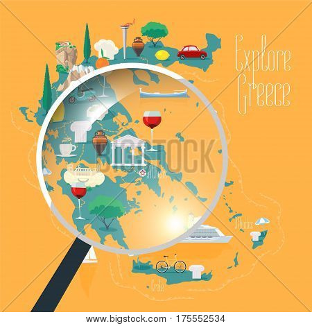 Map of Greece vector illustration design element. Icons with Greek landmarks travel places of interests. Explore Greece concept image with magnifier
