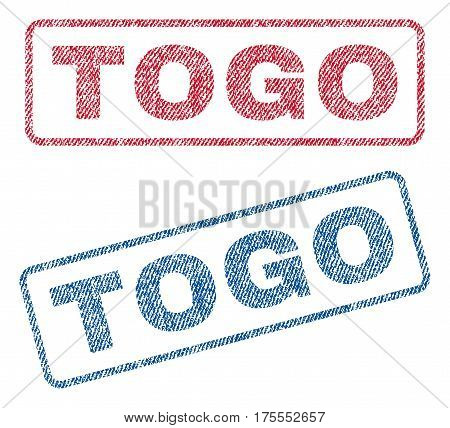 Togo text textile seal stamp watermarks. Blue, red fabric vectorized texture. Vector caption inside rounded rectangular shape. Rubber sticker with fiber textile structure.