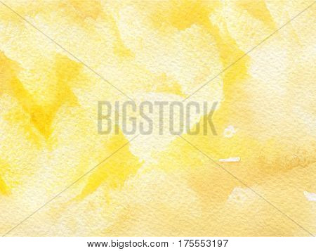 Watercolor background with paper texture. Yellow and orange wallpaper.