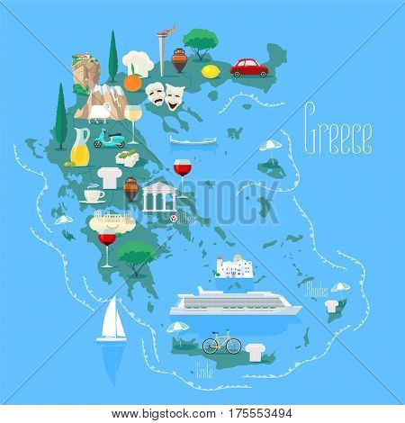Map of Greece with islands vector illustration design element. Icons with Greek landmarks and touristic attractions. Travel to Greece concept image