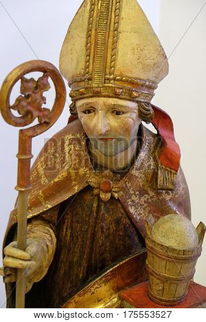 ZAGREB, CROATIA - FEBRUARY 17: Saint Ruprecht, around 1490, from the Church of St. Vitus in Vrbovec, exhibited in the Museum of Arts and Crafts in Zagreb, on February 17, 2015.