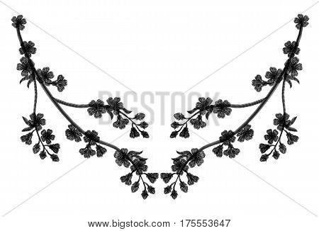Embroidery Blossoming Cherry Branches On A Black Background. Black Petals Fall Off. Fashion Clothing