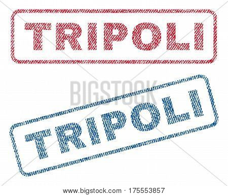 Tripoli text textile seal stamp watermarks. Blue, red fabric vectorized texture. Vector caption inside rounded rectangular shape. Rubber emblem with fiber textile structure.