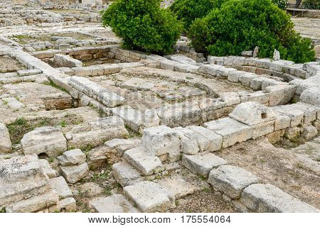Fasano Italy - 22 June 2016: The episcopal Basilica of the ancient Roman ruins in Egnazia Italy