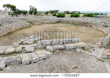 The Amphitheatre Of Th Ancient Roman Ruins In Egnazia