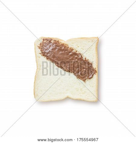 Closeup slice bread with chocolate for breakfast with shadow isolated on white background