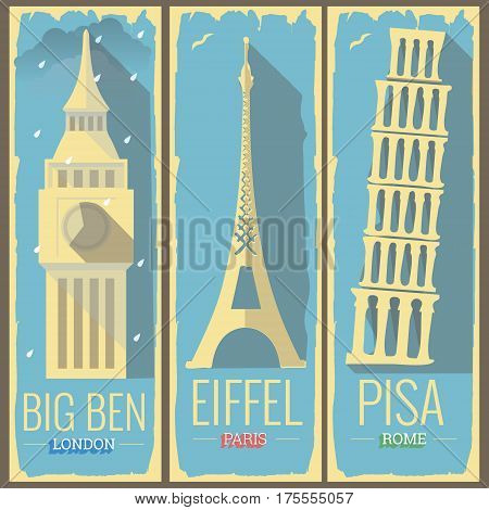 big ben tower london eiffel tower paris and pisa tower rome icon style illustrations on retro vintage poster postcard design