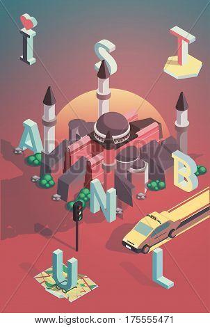 3d isometric vector illustration istanbul poster design