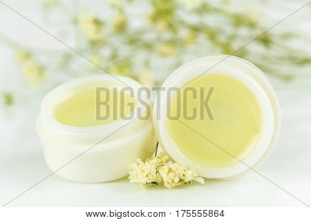 peppermint lip balm gel isolated on white background