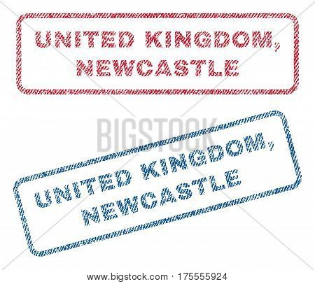 United Kingdom, Newcastle text textile seal stamp watermarks. Blue, red fabric vectorized texture. Vector caption inside rounded rectangular banner. Rubber sign with fiber textile structure.