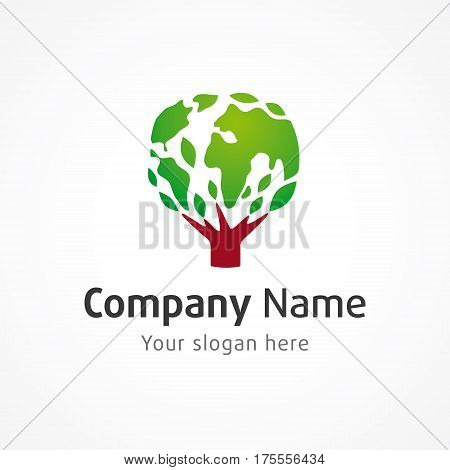 Globe tree vector logo. Environmental or green energy sign, global business branding identity, natural products idea. Tree of life. Earth in the shape of leaves.