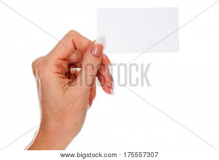 Female hand holds empty white card isolated on white background