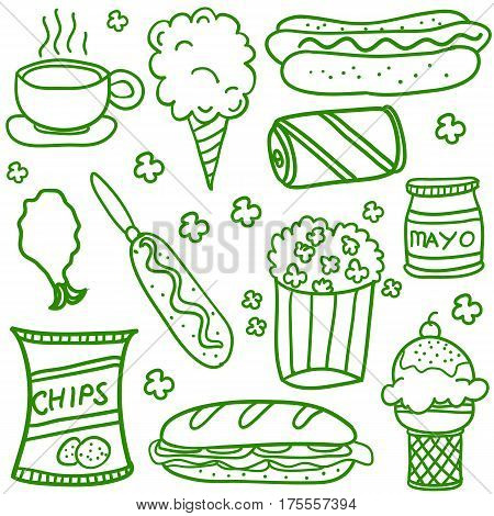 Collection stock of food doodle set vector art