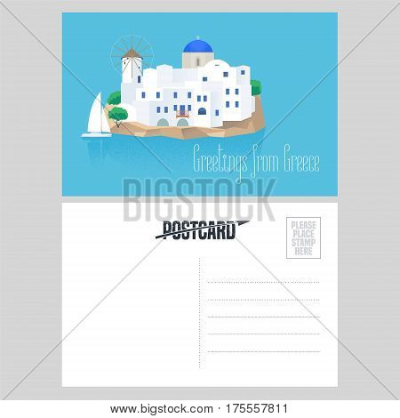 Postcard from Greece vector illustration with Santorini island. Design element with white and blue traditional Santorini houses