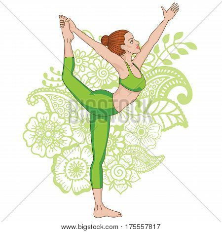 Women silhouette on paisley mehndi ormanent background. . Lord of the dance yoga pose. Natarajasana. Vector illustration