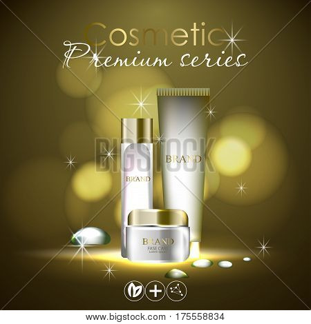 essense and a cream for skin care. 3d vector realistic illustration. Collagen solution , oil drops. The design of cosmetic products. Presentation of face care.