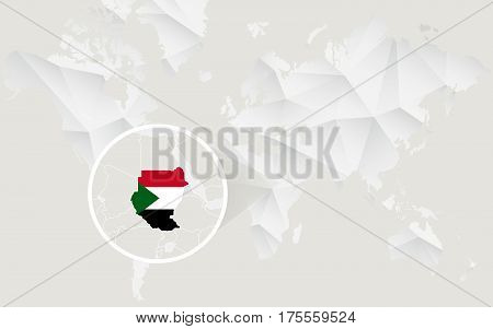 Sudan Map With Flag In Contour On White Polygonal World Map.