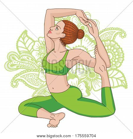 Women silhouette on paisley mehndi ormanent background. Mermaid yoga pose. Eka pada raja kapotasana. Vector illustration