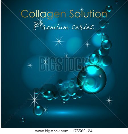 essense and a cream for skin care. 3d vector realistic illustration. Collagen solution , serum and water drops. The design of cosmetic products. Presentation of face care.
