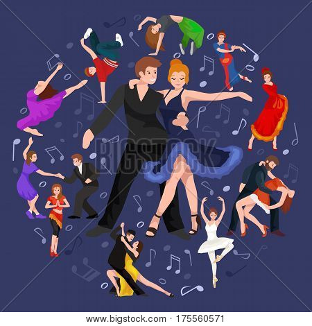 Happy Salsa dancers couple isolated on white icon pictogram, man and woman in dress dancing salsa with passion, people dancing ballroom vector illustration, young girl dancer salsa to the music background
