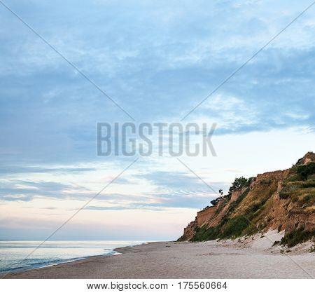 Cliffed coast of the Black Sea in Odessa Region in Ukraine.