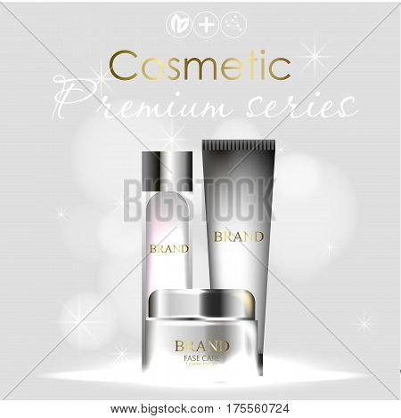 essense and a cream for skin care. 3d vector realistic illustration. Collagen solution , serum .The design of cosmetic products. Presentation of face care.