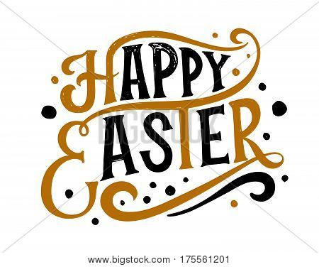 Hand Drawn Easter Postcard, Card, Invitation, Poster, Banner Template. Easter Lettering Typography.