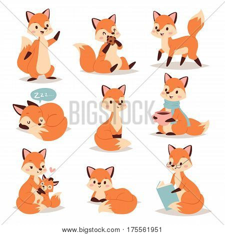 Fox cute adorable character doing different activities funny happy nature red tail and wildlife orange forest animal style graphic vector illustration. Little foxy mammal young zoo comic action.