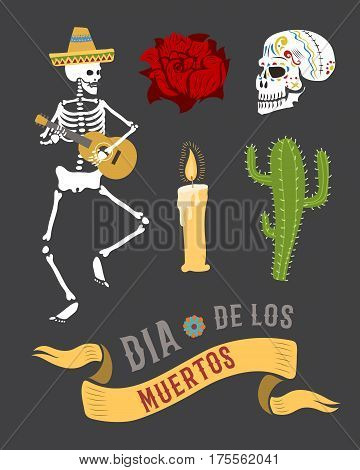 Colorful set of characters for dia de los muertos. Day of the dead and halloween. Skull catrina party culture vintage symbols. Traditional festival happy design vector illustration.