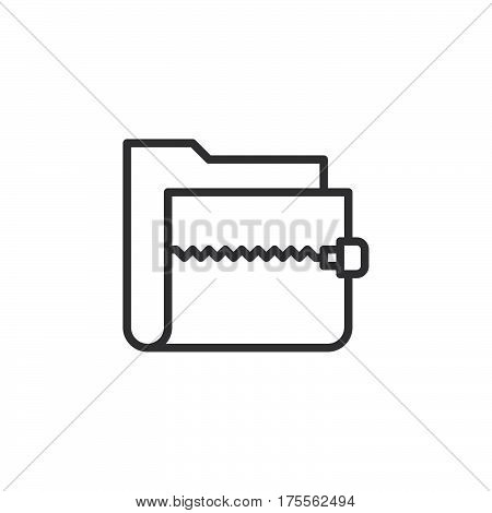 Zip archive folder line icon outline vector sign linear style pictogram isolated on white. Symbol logo illustration. Editable stroke. Pixel perfect