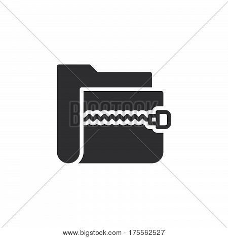 Zip archive folder icon vector filled flat sign solid pictogram isolated on white. Symbol logo illustration. Pixel perfect