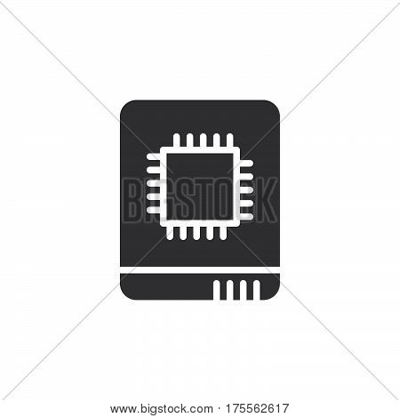 Solid state drive icon vector filled flat sign solid pictogram isolated on white. SSD symbol logo illustration. Pixel perfect