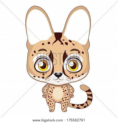 Cute stylized cartoon serval illustration ( for fun educational purposes, illustrations etc. )