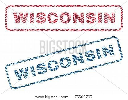 Wisconsin text textile seal stamp watermarks. Blue, red fabric vectorized texture. Vector caption inside rounded rectangular banner. Rubber sign with fiber textile structure.