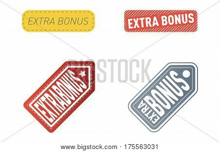 Super and extra bonus banners text in color drawn labels, business shopping concept vector. Internet promotion shopping extra bonus labels. Extra bonus labels advertising discount marketing.