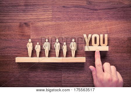 Successful team leader (manager CEO market leader) is you and another business leading and motivational concepts. Standing out from the crowd.