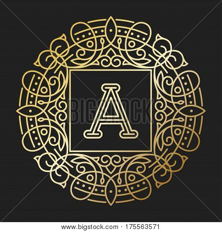 Vector sign monogram logo and text badge emblem line art vector illustration. Emblem monogram luxury badge logo template flourishes calligraphic leaves elegant ornament line vector