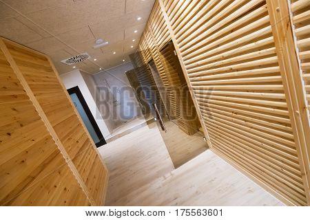 Spa Resort Hallway With Saunas And Shower