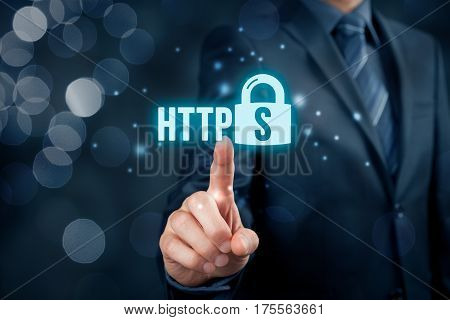 HTTPS - secured internet concept. Businessman or programmer click on https text and padlock symbol.