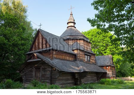 Ancient wooden church (XIX century) from the Western Ukraine in the open-air Museum of Folk Architecture near Kyiv.