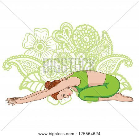 Women silhouette on paisley mehndi ormanent background. Child s yoga pose. Balasana. Vector illustration