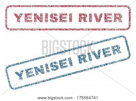 Yenisei River text textile seal stamp watermarks. Blue, red fabric vectorized texture. Vector caption inside rounded rectangular shape. Rubber sticker with fiber textile structure.