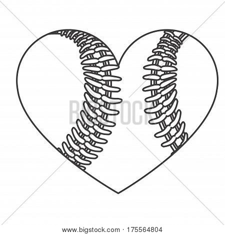 grayscale background of heart with texture of baseball ball vector illustration
