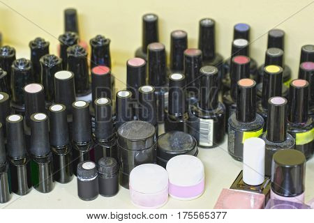Set of bottels with nail polish