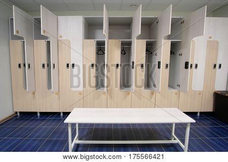 Interior of an empty cloakroom