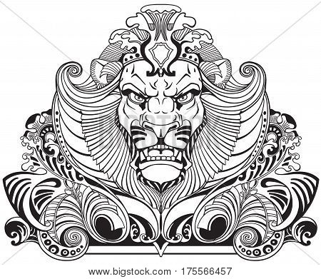 head of lion king . Front view ornament tattoo. Black and white vector illustration